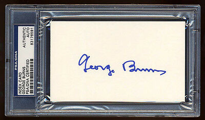 George Burns Signed Index Card Mint Psa/dna Slabbed Autograph