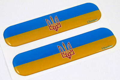 "Ukraine Ukrainian Flag Domed Decal Emblem Car Flexible Sticker 5"" Set of 2"