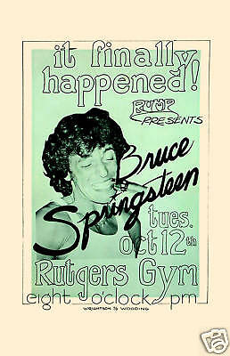 Bruce Springsteen at  Rutgers University Concert Poster Circa 1976