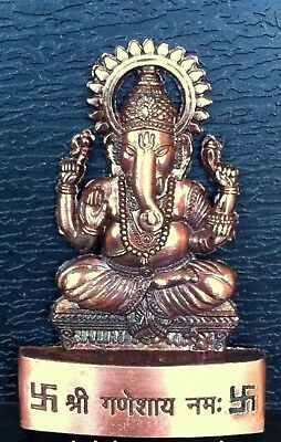Lord Ganesha Ganesh Maharaaj Hindu God Antique Metal Mini Statue Car Dash Board