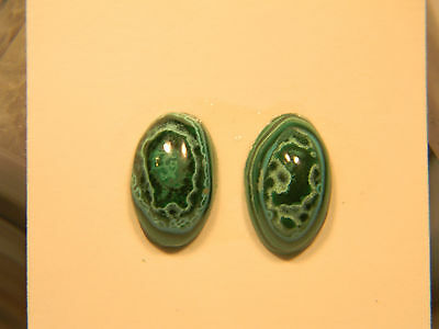 Malachite and Chrysocolla Pair Cabochons 15x9mm (2965)