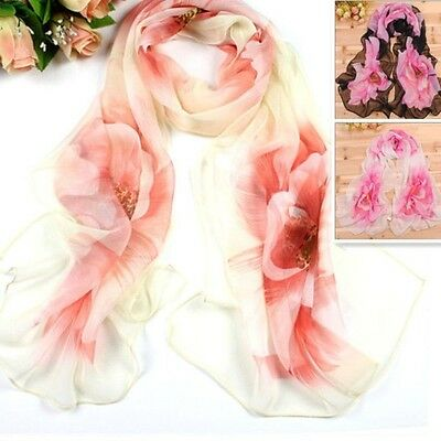 Hot Lovely Flower Silk Smooth Chiffon Scarf Multi More Colour SL09