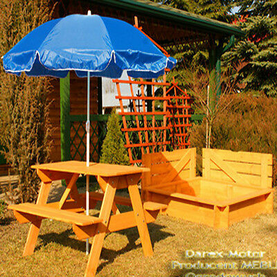 SANDPIT + TABLE + UMBRELLA Sand pit SANDBOX wooden 120x120 with COVER painted