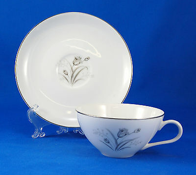 Creative ROYAL ELEGANCE Flat Cup and Saucer Set 2 in. Tulips Flowers Platinum
