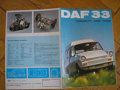 Daf 33 Fourgonette Combi Pick-Up Brochure Catalogo 1971