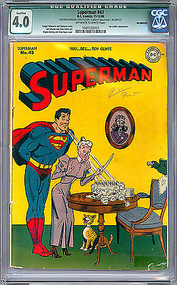 lp SUPERMAN #43 CGC 4.0    JERRY SIEGEL & JOE SHUSTER    WAYNE BORING CVR 1946
