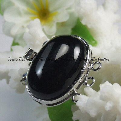 Black 31mmx32mm 3 Strands Onyx Stone Clasp