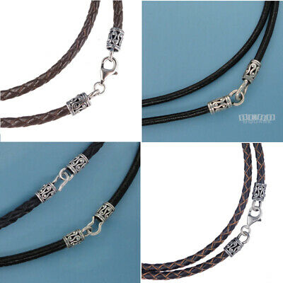 Sterling Silver Black Genuine Leather Cord Necklace w/ Antiqued Fish Hook Clasp