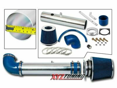 BLUE 1997 1998 1999 2000 Ford F150 4.2L V6 Short Ram Air Intake Kit + Filter 3""