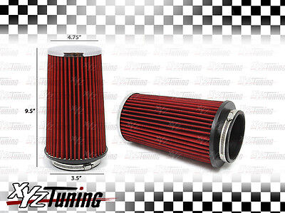 """3.5 Inches 3.5"""" 89 mm Cold Air Intake Cone Truck Replacement Filter RED New"""