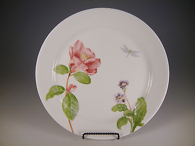 Corelle Camellia Dinner Plates pink floral dragonfly 10 1/4 in.