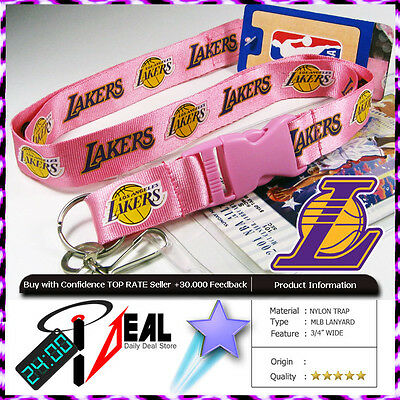 Official LOS ANGELES LAKERS NBA Lanyard Keychain fastpass + Ticket ID Holder Pk