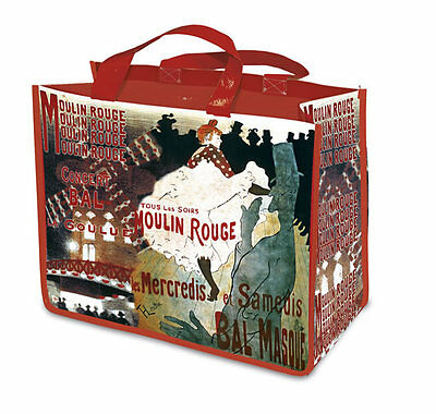 Large New Reuseable Shopping Bag Vintage Paris Moulin Rouge Goulue Dancing Scene