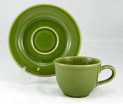 Williams - Sonoma BELVEDERE - OLIVE Flat Cup and Saucer Set 3 in. Green Portugal