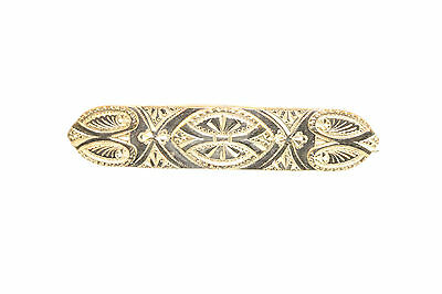 Antique Victorian Yellow Gold/F Embossed Etched Victorian Design Bar Pin C-Clasp