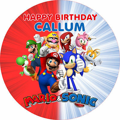 "Mario Sonic 7.5"" ROUND Birthday Cake Topper Rice Paper/Icing 24HR POST!"