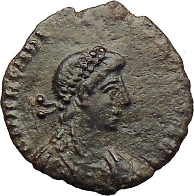 Arcadius crowned with wreath by Victory 383AD Rare Ancient Roman Coin i29822