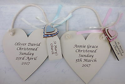 Personalised engraved Christening plaque Baby boy/girl gift in IVORY heart