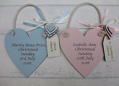 Personalised engraved Christening plaque Baby boy/girl gift COLOURED heart