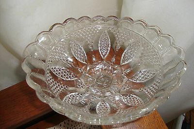 Vintage Glass Compote Candy Dish Bowl Cane Pointed Oval Petal Loop Ladder Fan