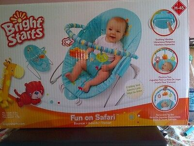 BRIGHT Starts Fun On SAFARI Vibrating BOUNCER! PERFECT Sleep Aid For MOM n BABY!