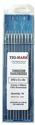 Pk 10 3.2mm x 150mm ZIRCONIATED WHITE TIPPED TUNGSTEN ELECTRODES