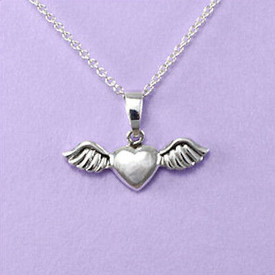 """925 Silver """"Angel Wings with & Heart"""" 18""""/20"""" Pendant A108"""