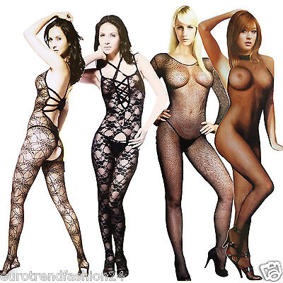 GOGO Overall Reizwäsche Netz Body Stocking Dessous Negligee Catsuit XS-M 34-38