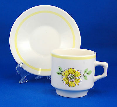 Oxford Unknown Pattern Flat Cup and Saucer Set 3.125 in. Yellow Flowers Brazil