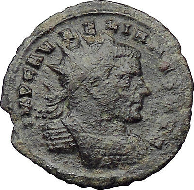 AURELIAN receiving wreath from Orbis 272AD  Ancient Roman Coin Rare i29952