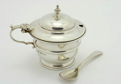 Solid Silver Mustard/Sauce/Condiment Pot & Spoon Sheffield 1964