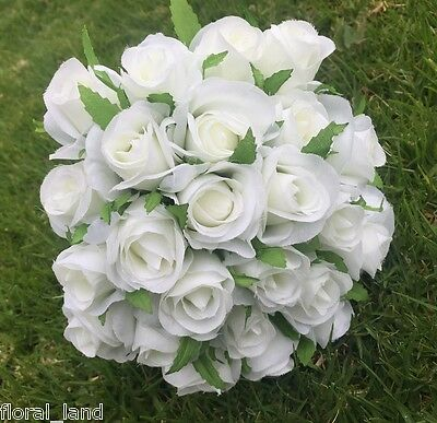 White silk rose roses buds posy wedding bouquet pre made flowers bridal flower