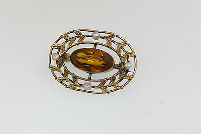 ANTIQUE VICTORIAN 14k WHITE GOLD FILIGREE PIN CITRINE COLOR STONE & SEED PEARLS