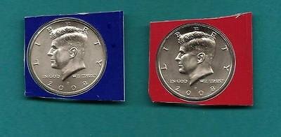 2008 P and D Satin BU Kennedy Half Dollar  Set -Two Coins- PD in Mint Cello
