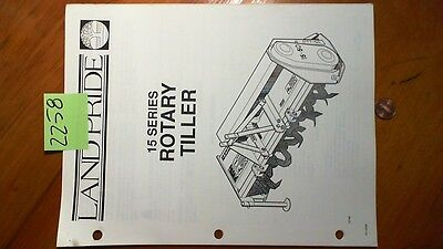 Land Pride 15 Series Rotary Tiller Owner's Operator's Manual w/Illust Parts 8/93