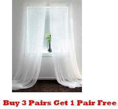 1 Pair(2 Pcs)IKEA LILL White Long Sheer Netting Curtain Blind 280 x 250cm-NEW