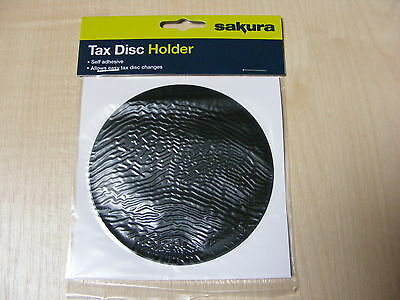 Non Magnetic Self Adhesive Tax Disc Holder Round Black Car Van Universal - New