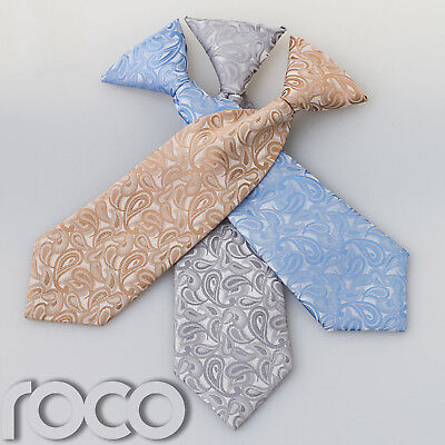Boys Formal Ties Paisley Pattern Designer Elasticated Wedding Holly Communion