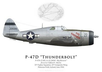 Print P-47D Thunderbolt , 33rd FS, 24th CW, Iceland, 1944 (by G. Marie)