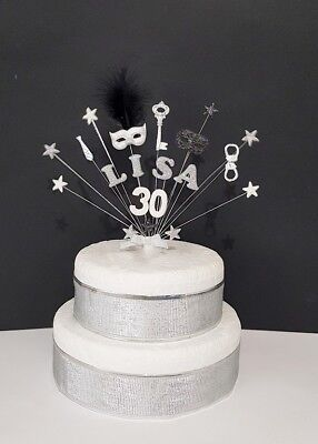 50 Shades of Grey Birthday Cake Topper handmade  (mask, key, handcuffs and tie)