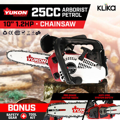 """NEW 25cc Commercial Petrol Chainsaw 10"""" Bar Chain Saw Arborist Log Tree Pruning"""