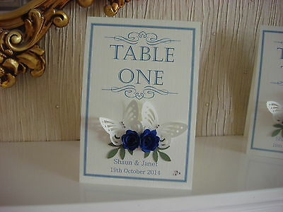 Personalised Wedding Table Number - Rose & Butterfly