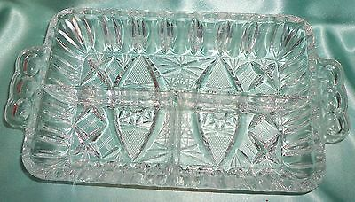 ~ Collectable ~ Heavy Glass Crystal Divided Serving Dish Chip ~ Vintage ~