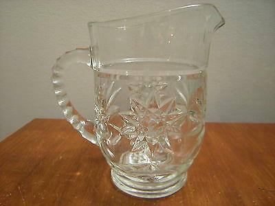 BOHEMIAN SMALL CRYSTAL PITCHER  {THICK / HEAVY}  SUN AND FLOWERS IN GLASS