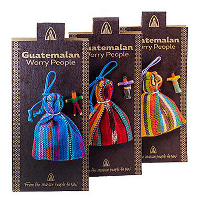 Quality Guatemalan Worry Dolls Pack of 6 In Bag On Presentation Card Gift