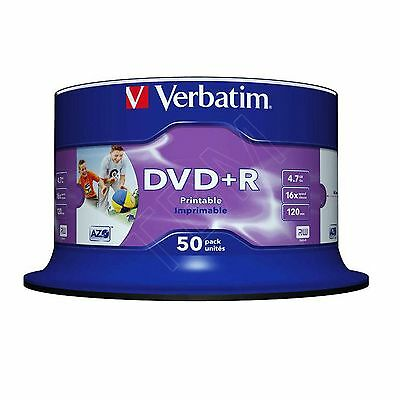 50 Verbatim 43512 DVD+R 4.7 GB (16x) 120Min Inkjet Printable Spindle