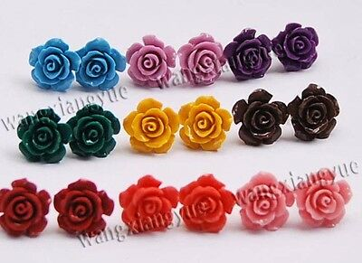 Wholesale 9Pairs 9Color 15mm Sea Coral Carved Flower Earrings Silver Stud AAA