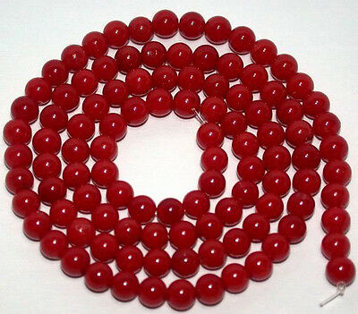 """6mm Red Sea Coral Round Gemstones Loose Beads 15"""""""