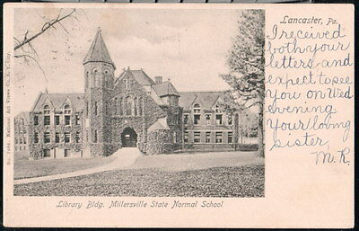 MILLERSVILLE PA State Normal School Library Building Antique B&W Postcard Vtg PC