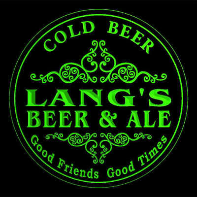 4x ccqs1542-g LANG'S Beer & Ale Cold Beer Bar Engraved Coasters